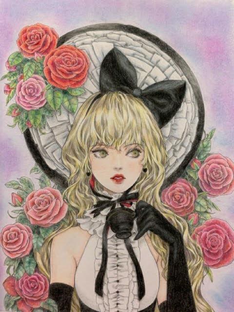 『mysticaミスティカぬり絵ブック』より「ブラック・ティー」のページ
