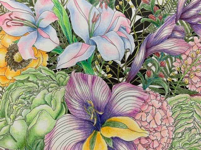 「世界一美しい花のぬり絵」よりNo.024が完成!キャベツが入ってしまった