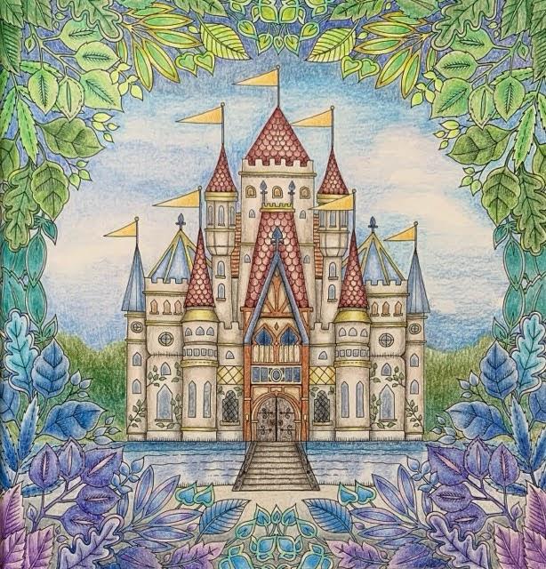 「ねむれる森よりお城のぬり絵」背景を少し足してみた