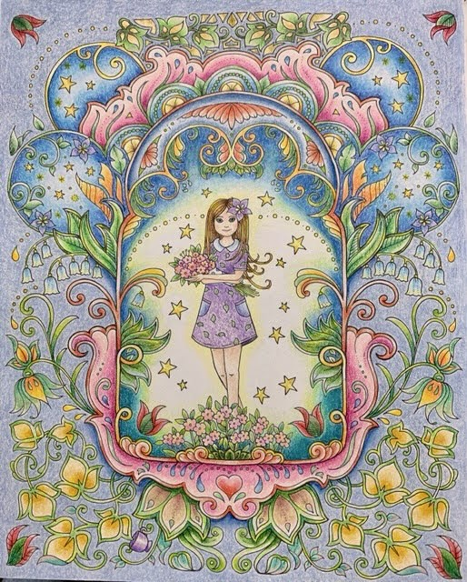 『アイビーと不思議な蝶』よりプリズマカラーで塗ってみたアイビーちゃんのページ