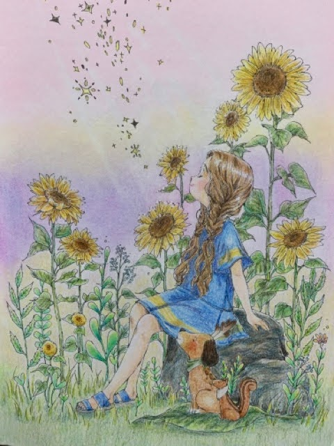 エポルの塗り絵ブック「ひまわりのように」プロヴァンスの光のイメージで塗ってみた