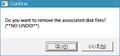 「はい」すると現れるファイルを消すかの確認ダイアログ