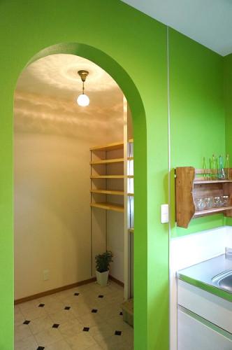 倉敷市の3LDKの可愛い家・キッチンのパントリー