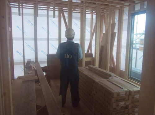 浅口市寄島町の3世代2世帯住宅・防水検査