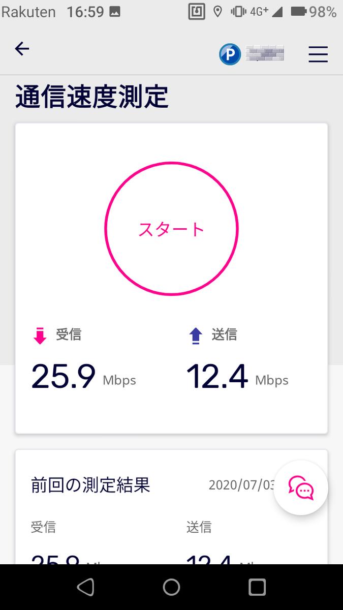 楽天モバイル速度測定1