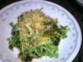 [晩飯]貝割れ&わかめのサラダ(しょうが&ニンニク)
