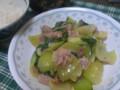 [晩飯]チンゲン菜と豚バラの中華炒め