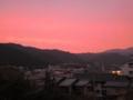 [ベランダ]夕焼け・比叡山