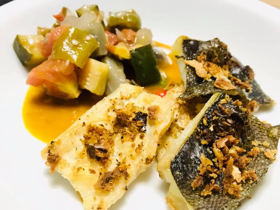 カレイのパリパリ焼き&ラタトゥイユソース