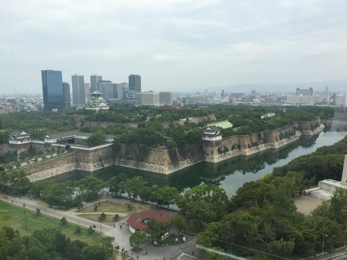 歴史博物館10階から見下ろした現在の大阪城