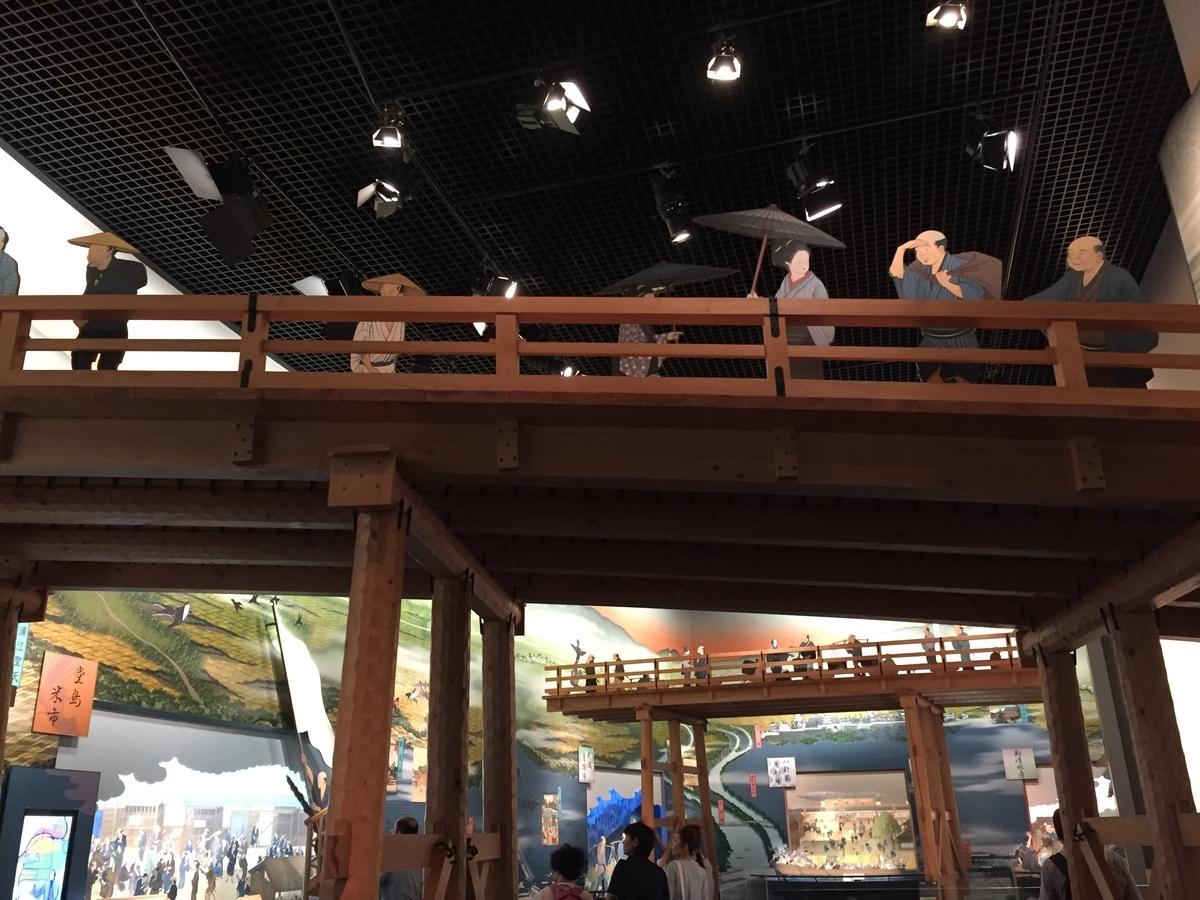 9階フロアに作られた橋の実物大の部分模型