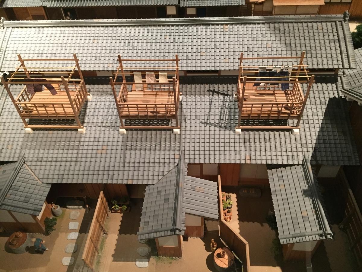 船場の町の模型の長屋の上の洗濯干し場が3つ並んでいる