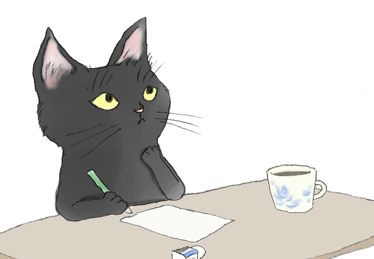 黒猫が鉛筆を持って何を書こうか考えている