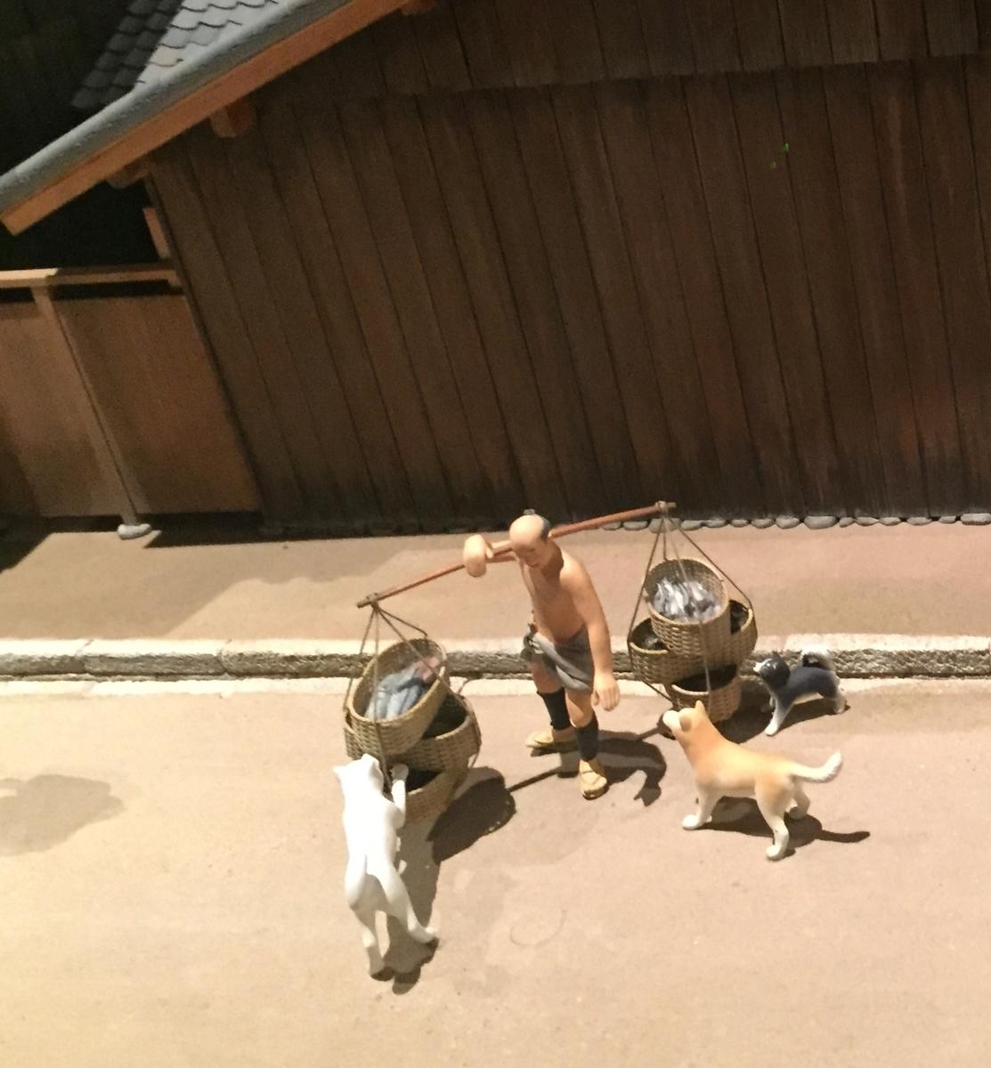 船場の町の魚を売る人と犬の模型