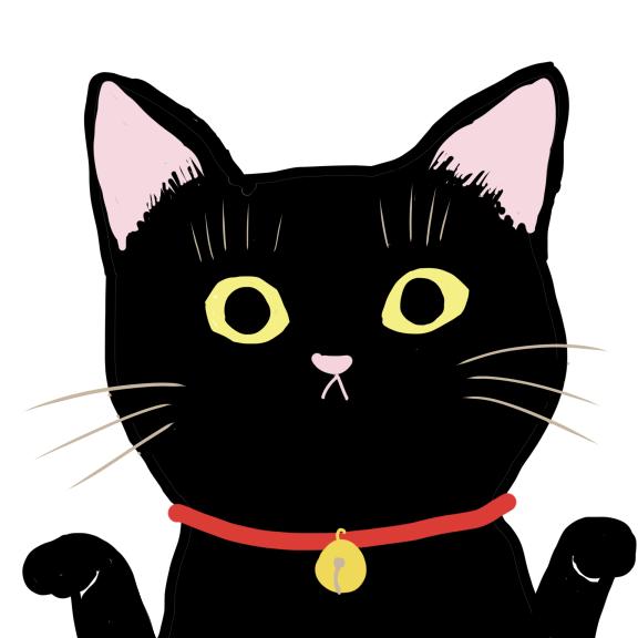鈴の付いた赤い首輪をした黒猫