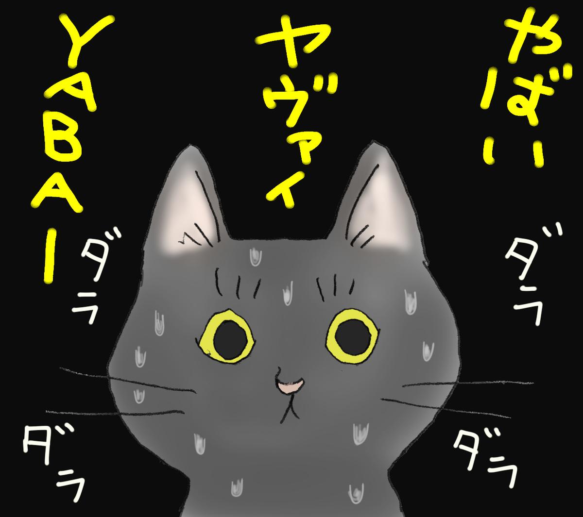 汗をダラダラ流す黒猫 背景にやばいの文字
