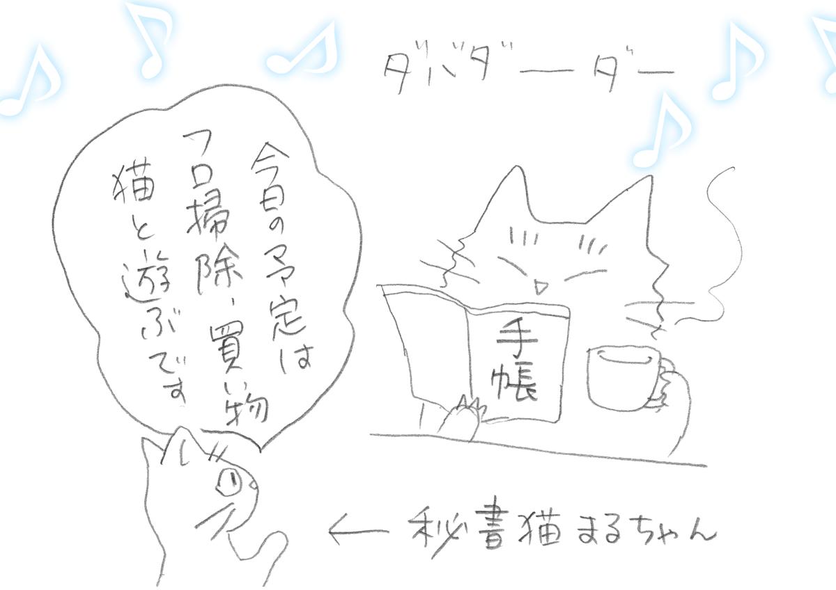 猫がコーヒーを片手に手帳を見ている、傍で秘書猫が今日の予定は風呂掃除、買い物、猫と遊ぶデスと言っている絵