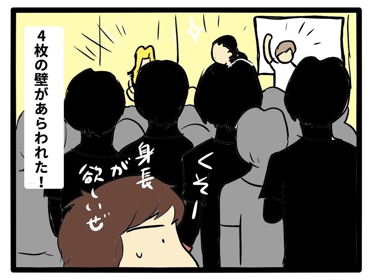 4枚の壁に阻まれつつステージを見て、身長が欲しいとつぶやいている人