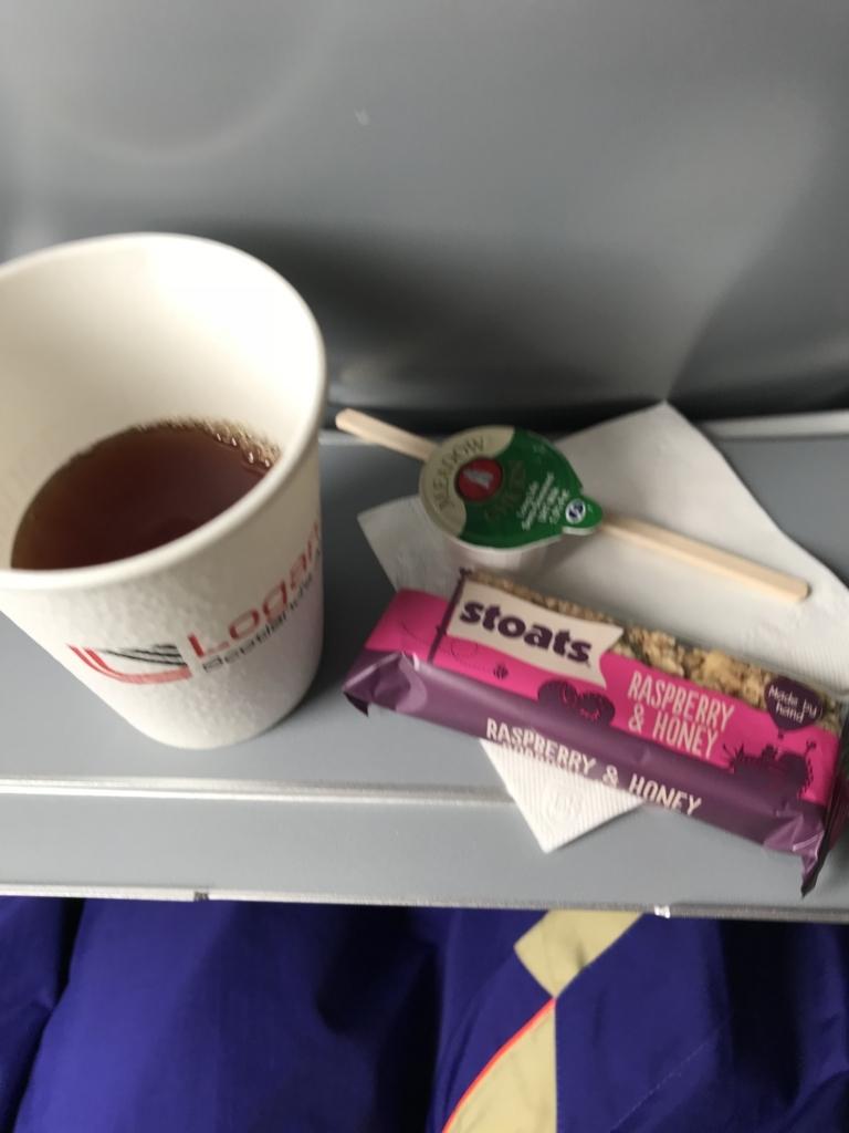 1時間位で着くのにお茶とお菓子でた