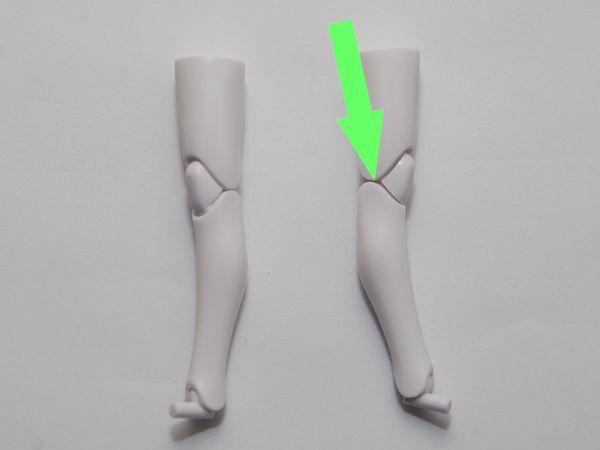 ひざ部分のクリアランス確保