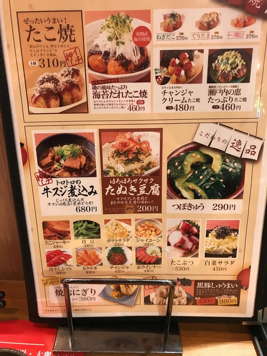 食べ物 メニュー表