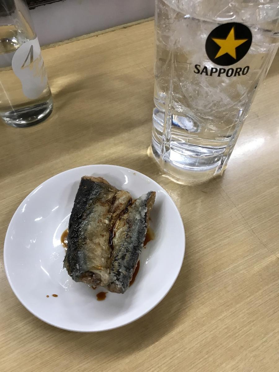 チューハイ(200円)&サンマの蒲焼き(180円)