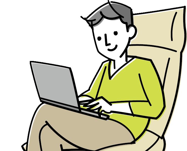 パソコンをしている男性