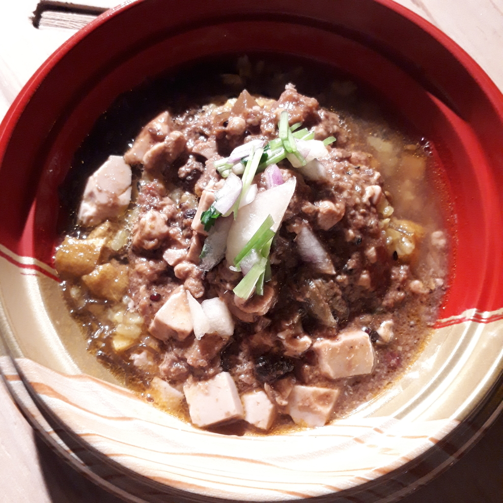 堕天使かっきー 鰤清湯スープと鱈と鱈白子麻婆風カレー