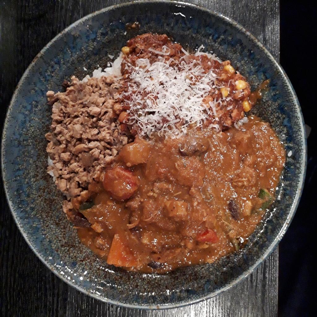 ゴヤクラ 2019年2月23日 特製チキン和レー 牛豚合挽トマト 激辛チキンキーマ