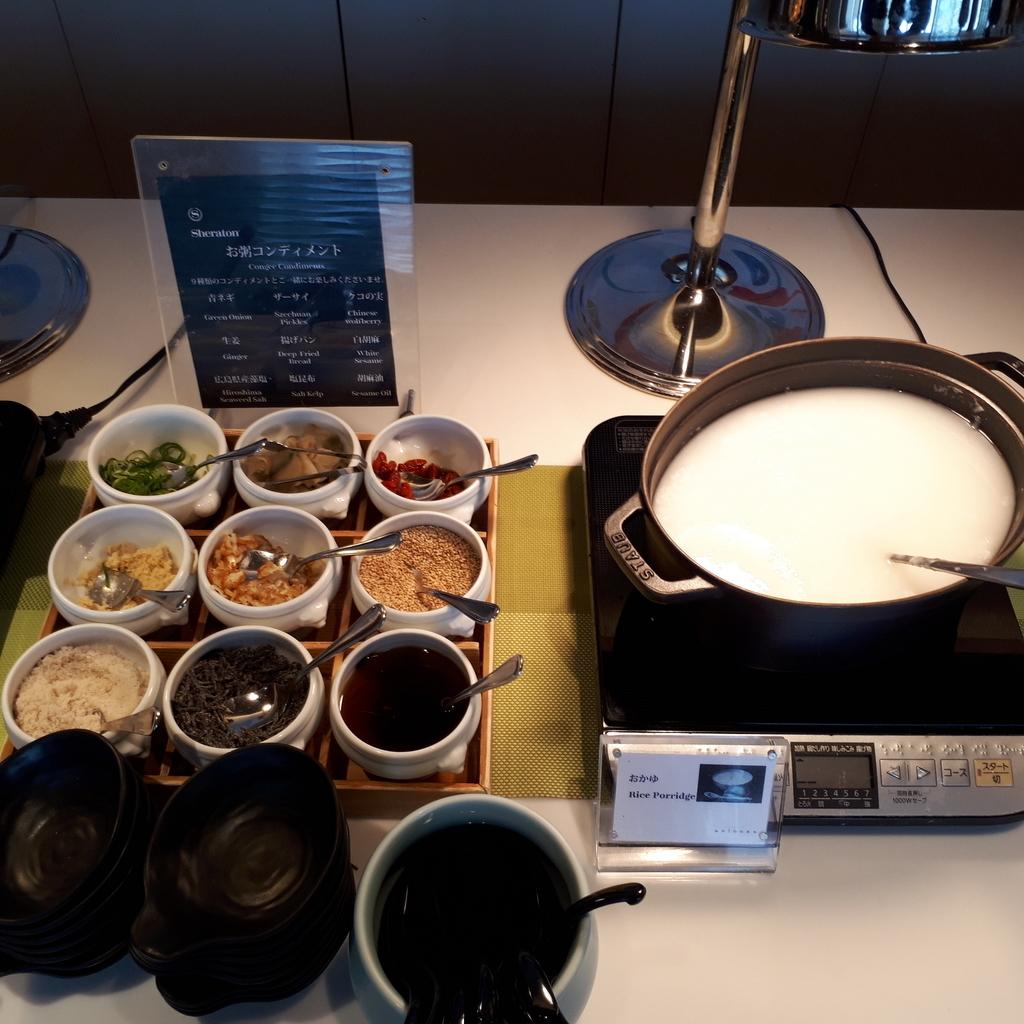 シェラトングランドホテル広島 ブッフェレストラン ブリッジ お粥とトッピング