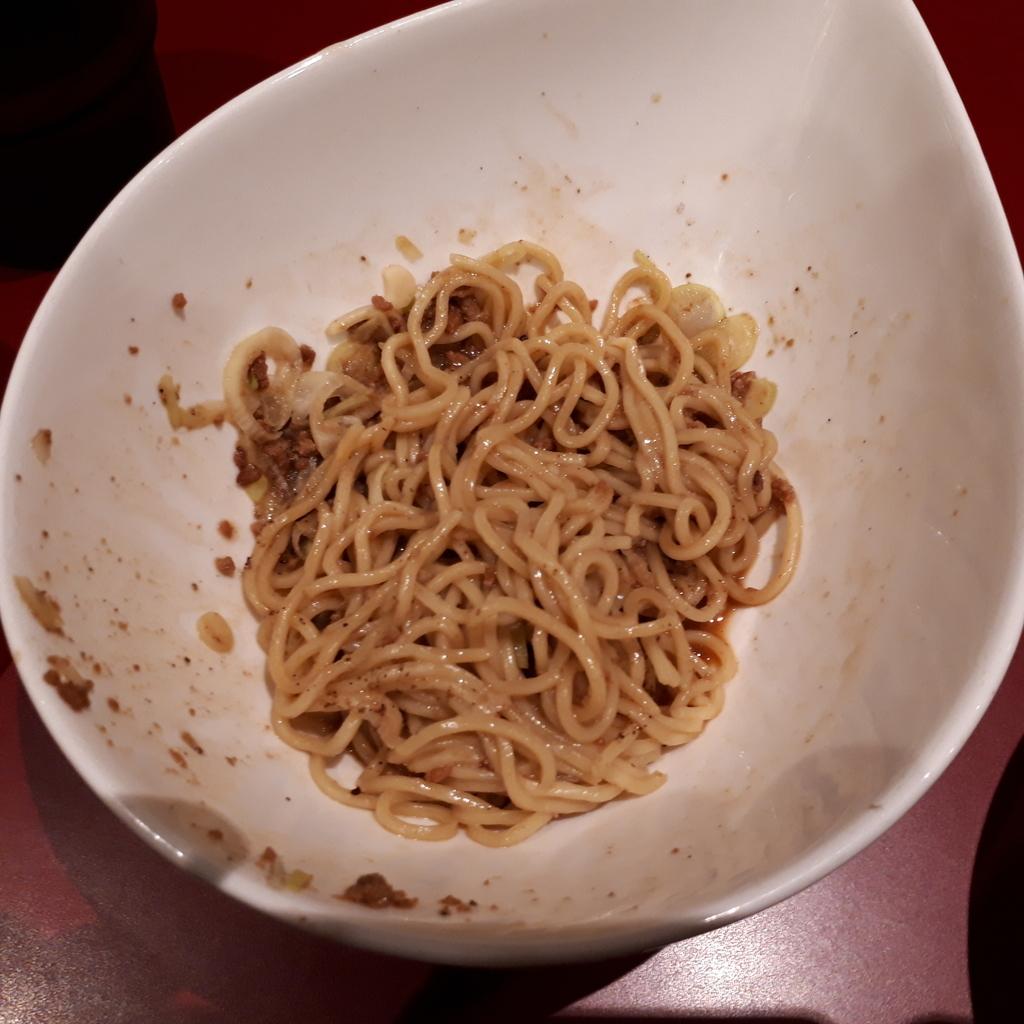 くにまつ+武蔵坊 汁なし坦坦麺 くにまつハーフ 混ぜた後