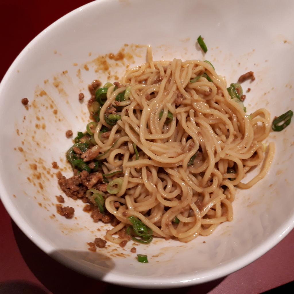 くにまつ+武蔵坊 汁なし坦坦麺 武蔵坊ハーフ 混ぜた後