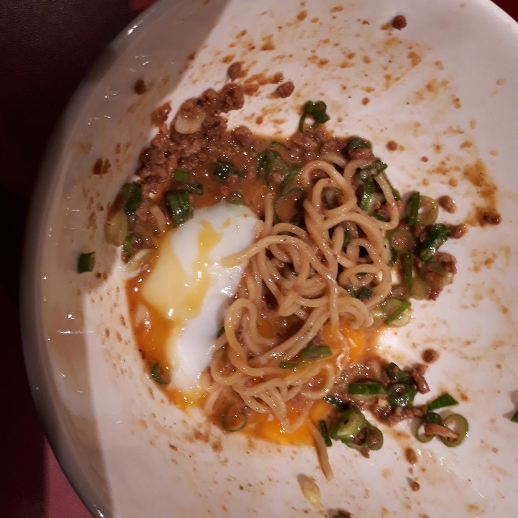 くにまつ+武蔵坊 汁なし坦坦麺 武蔵坊ハーフ 温玉をオン