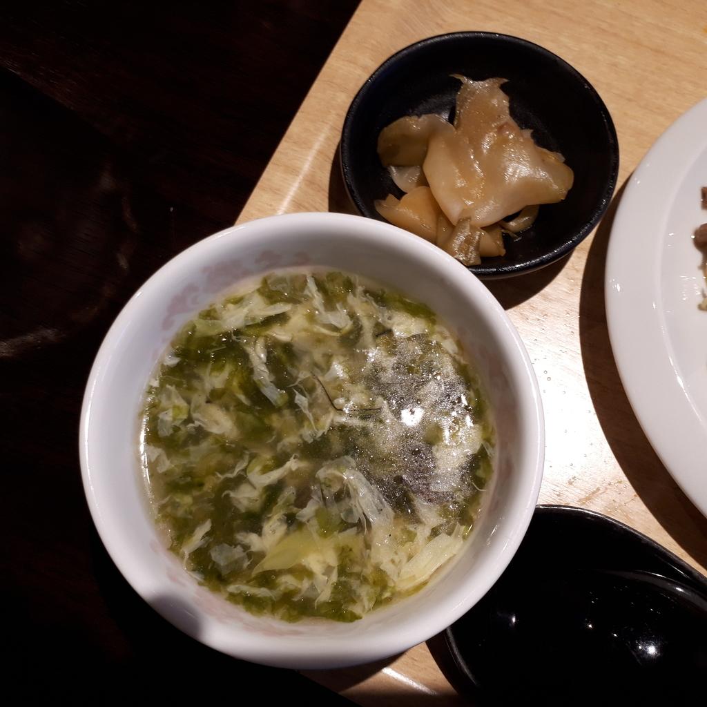 紅海月 ハーフ&ハーフランチセット スープとザーサイ