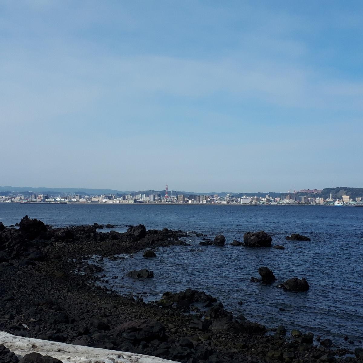 溶岩なぎさ遊歩道から鹿児島市街地を望む