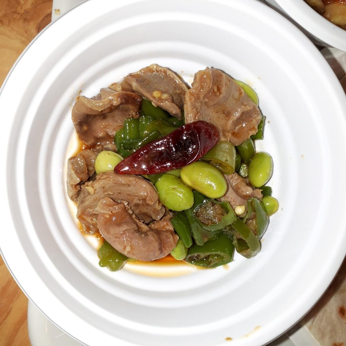 パラディーゾ デル ヴィーノ タケウチ 砂ズリと獅子唐辛子 枝豆の辛味和え