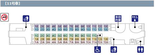N700系 11号車 座席配置