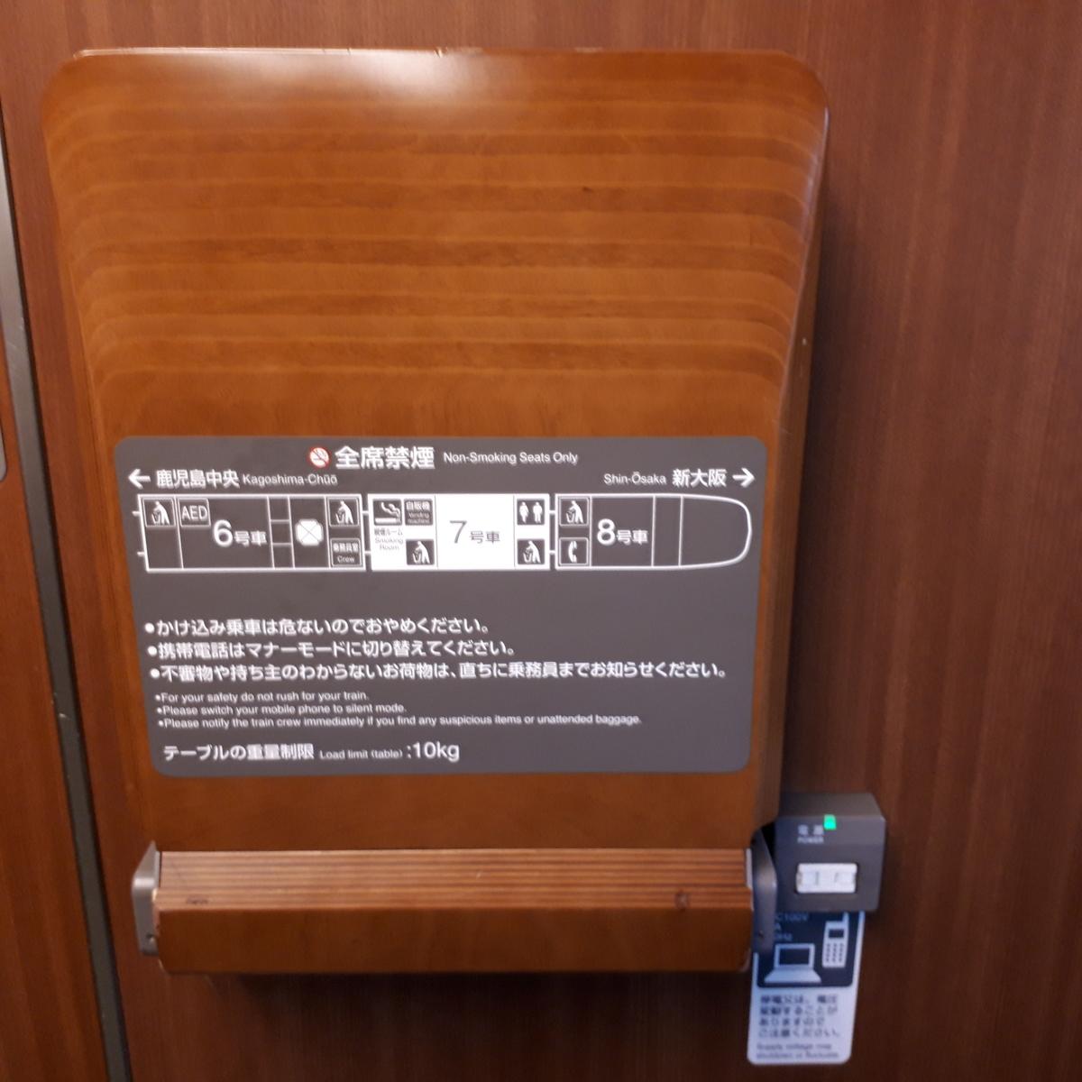 新幹線N700系 みずほ さくら 普通車 車両端テーブル