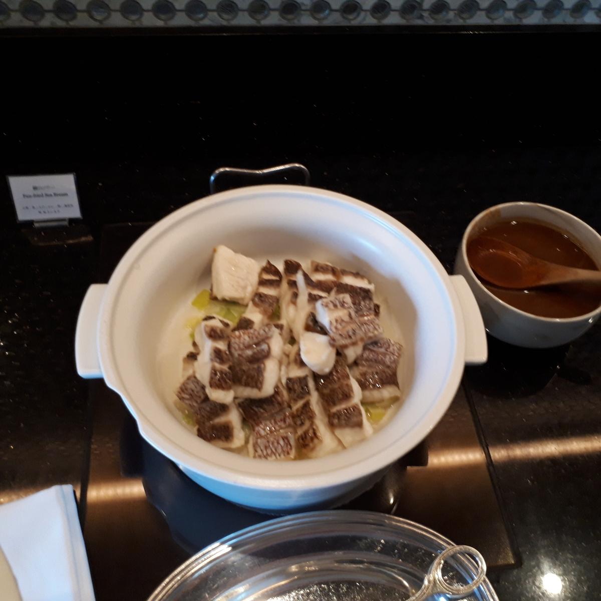 リッツカールトン大阪 クラブラウンジ 夕食前の前菜 鯛のソテー