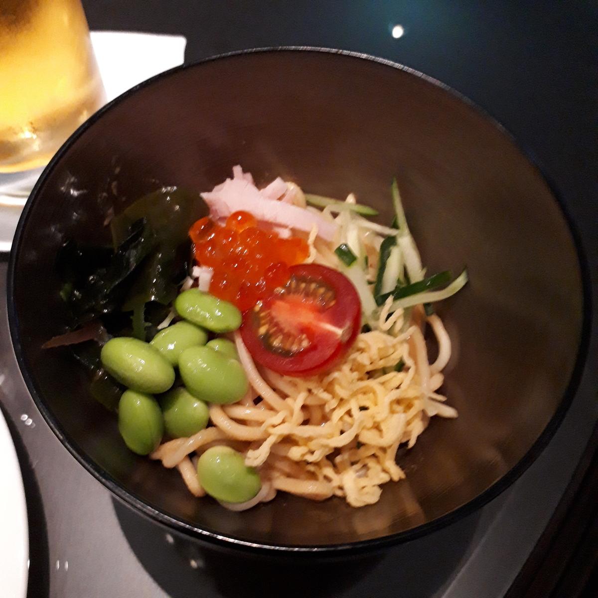 リッツカールトン大阪 クラブラウンジ 夕食前の前菜 冷やし中華