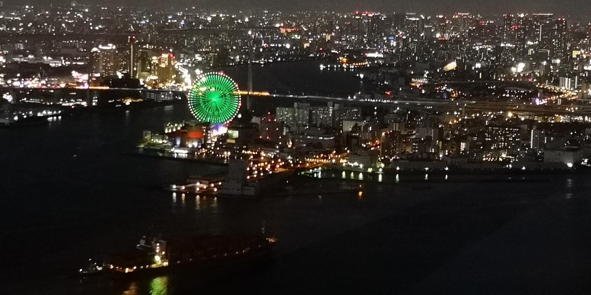 さきしまCOSMOTOWER展望台 天保山方面の夜景