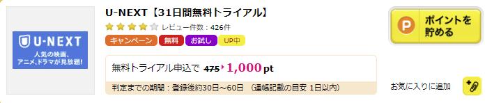 ハピタス U-NEXT