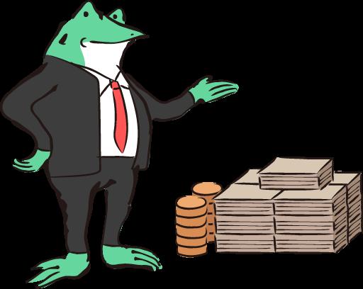 お金の横のカエル