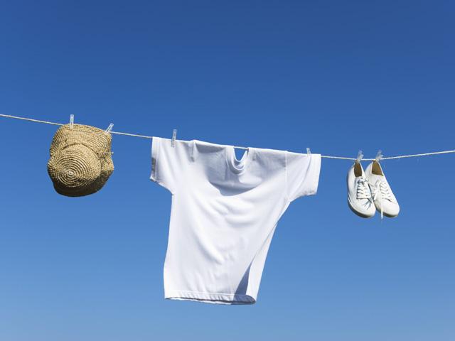 気持ちよく干されている洗濯物