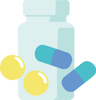 カプセルと錠剤の薬のイラスト