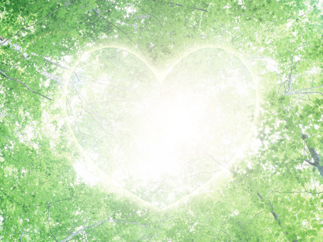 緑の杜とハートのイメージ