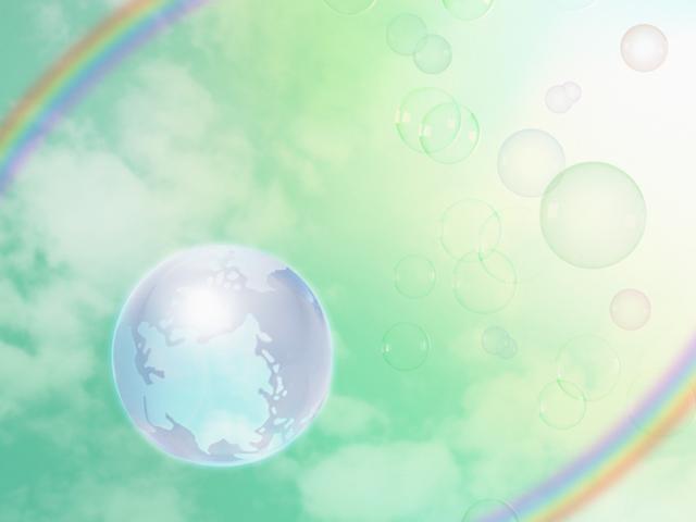 虹と緑とクリスタルの地球