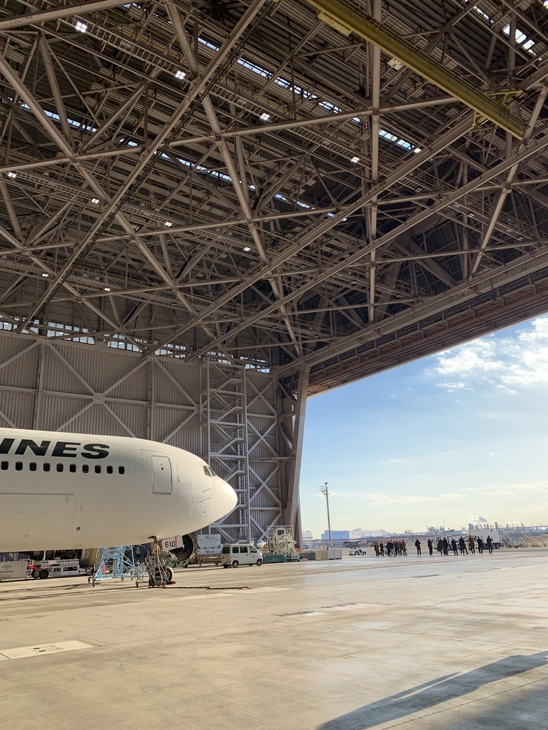 飛行機と格納庫から見る空