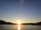 瀬戸に落日(大島瀬戸、左は大島、右は日向貝、夕日の右が室根山)