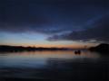 [風景][気仙沼][三陸][リアス][森][海][冬]夜明け前、唐桑瀬戸(左:唐桑半島、右:大島)